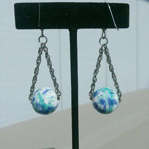 Jewelry - Blue Aqua Colored Bead & Chain Earrings